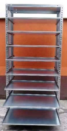77156807 Regał ocynkowany z 8 wysuwanymi półkami (wymiary: 2000x940x400 mm, obciążenie półki: 40 kg)