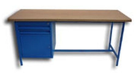 77156839 Stół warsztatowy jednostanowiskowy, drzwi, 2 szuflady (wymiary: 1500x750x900 mm)