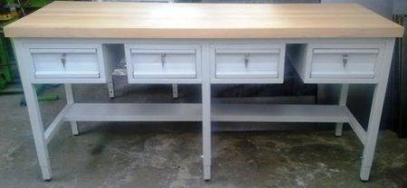 77156931 Stół warsztatowy, 4 szuflady (wymiary: 2000x600x900 mm)