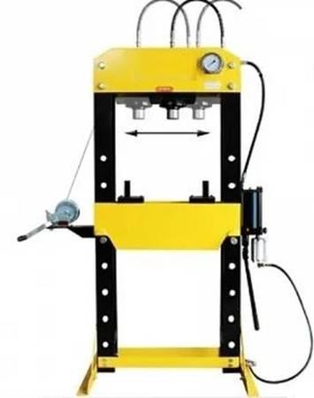 DOSTAWA GRATIS! 44358874 Prasa hydrauliczna, pneumatyka, ruchomy tłok, regulowany stół, pedał sterujący (siła nacisku: 30 T)