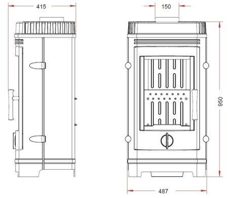 DOSTAWA GRATIS! 86854943 Piec wolnostojący Invicta 10kW Cassine (górna średnica wylotu spalin: 150mm, kolor: antracyt)